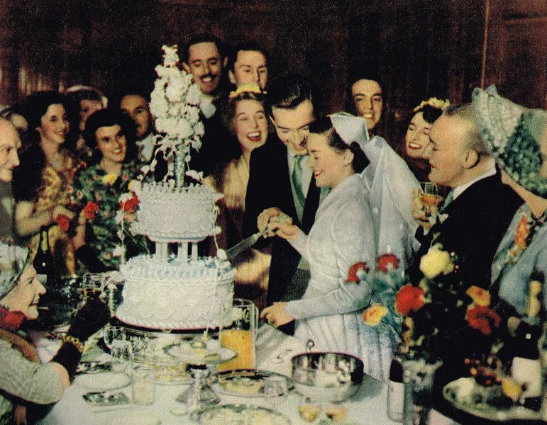 1954 wedding breakfast cake cutting