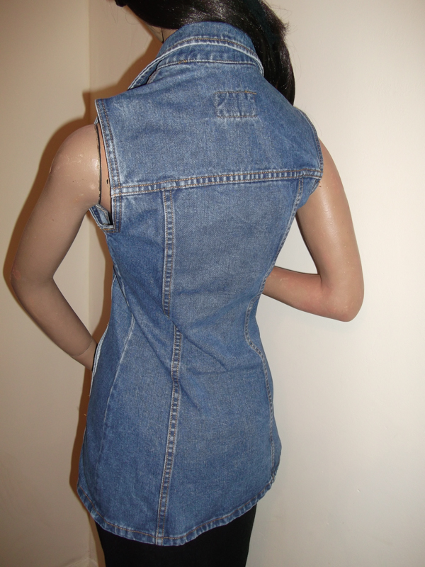 Blue denim waistcoat top - back view