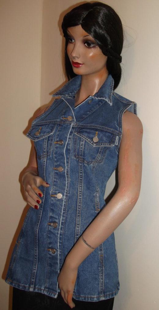 Blue denim waistcoat top