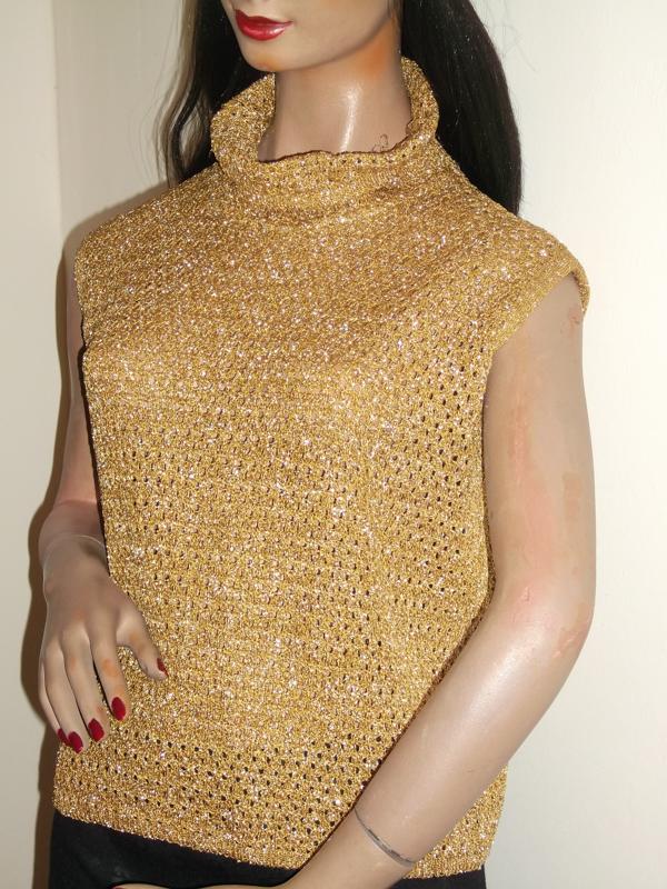 1970s gold knit top - disco babe!