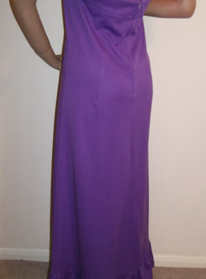 1970s purple maxi dress - back view