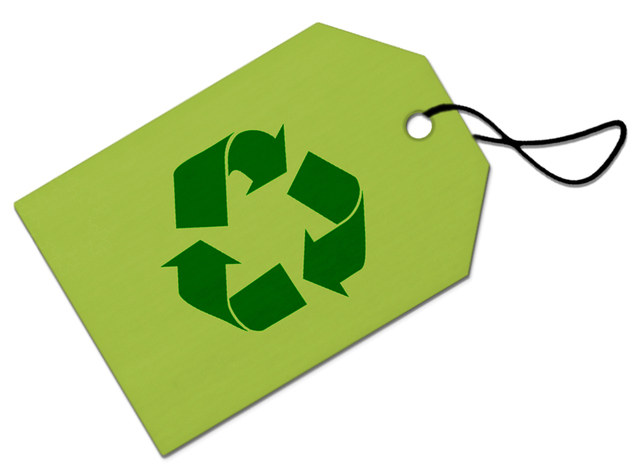 Green tag with recycling symbol