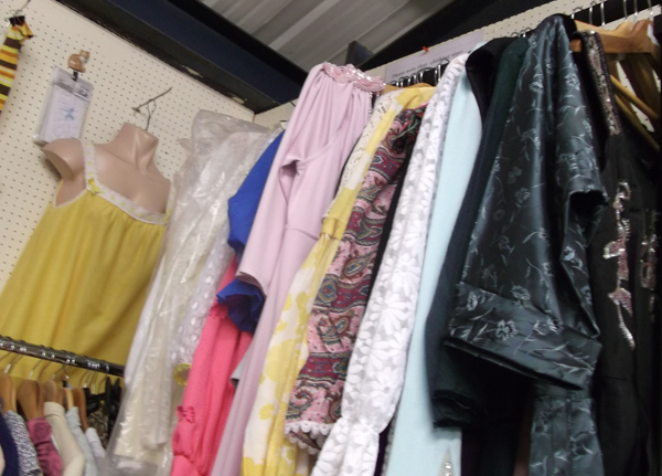 Clothing on rail on stall
