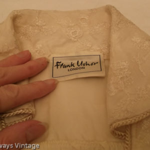 Close up of Frank Usher label