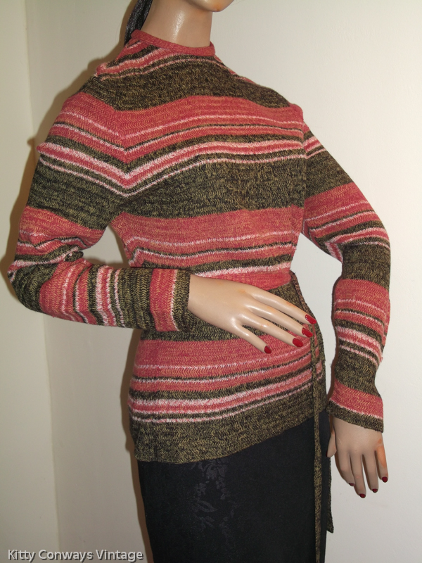 1970s striped jumper with belt on mannequin - side view