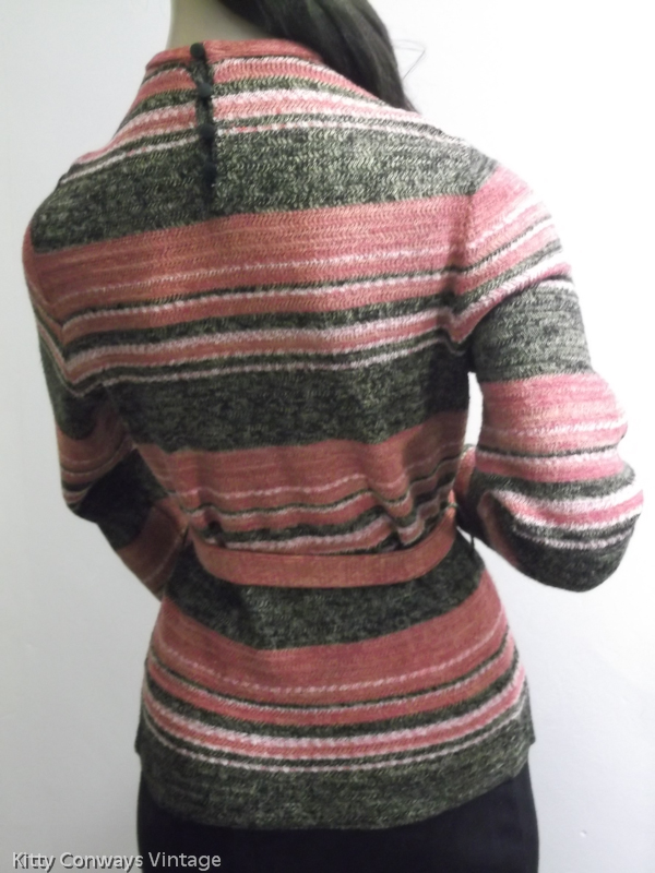 1970s striped jumper with belt on mannequin - back view