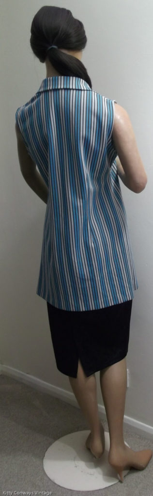 1970s blue striped top on mannequin Crimplene - back view
