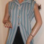 1970s blue striped top on mannequin - Crimplene