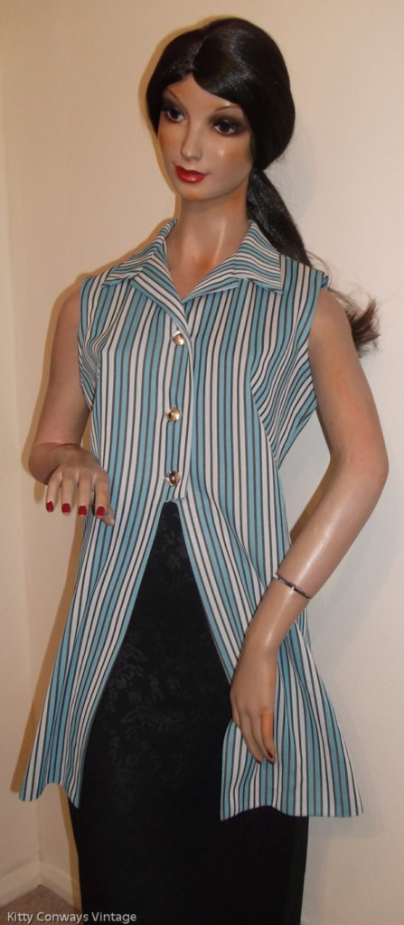 1970s blue striped top on mannequin - Crimplene