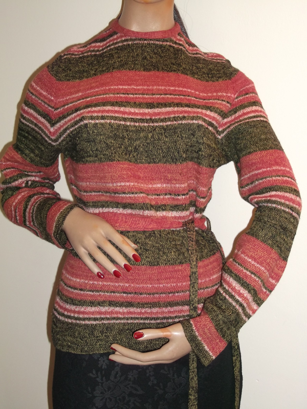 1970s striped jumper with belt on mannequin - front view