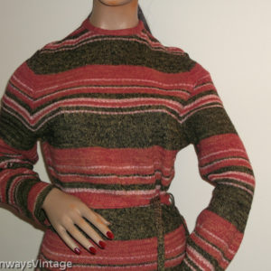 1970s striped jumper with belt on mannequin - front top