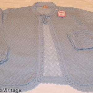 1950s Brettles knitted blue bed jacket