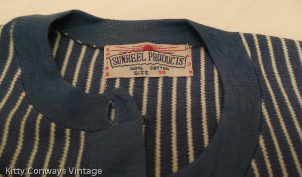 1950s blue striped cardigan label - Sunreel products - 100 percent cotton