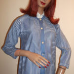 1950s blue striped cardigan