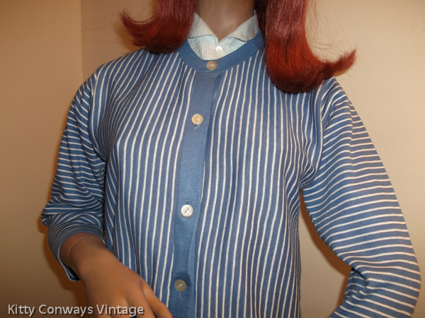 1950s blue striped cardigan - front