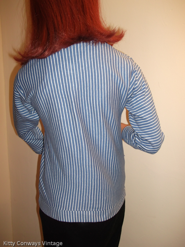 1950s blue striped cardigan - back view
