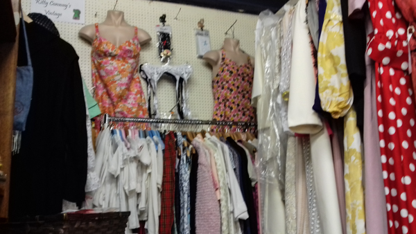 Bygone Times - Kitty Conways stall - dress display and rails of clothes