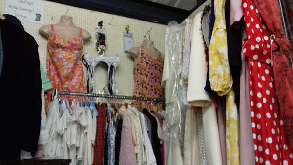 Bygone Times, Kitty Conways stall. Dress display and rails of clothes