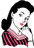 Clip art image of vintage style puzzled lady