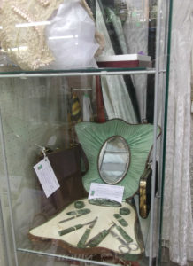 Green 1930s nail kit and handbags