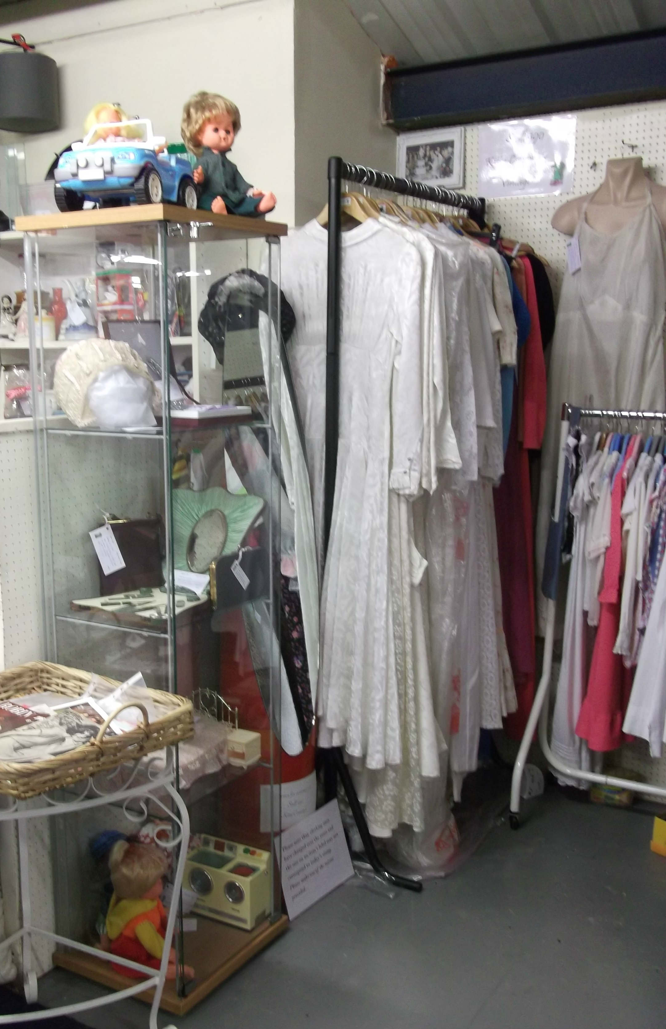 New cabinet and vintage wedding dresses from the late 1930s to early 1980s