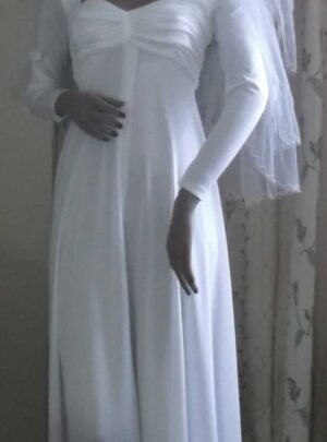 Front full length view of the crimplene dress