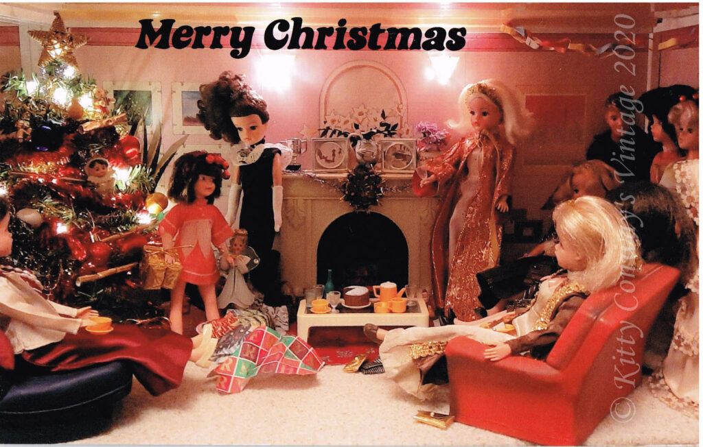 Sindy dolls in their Christmas decorated home watch patch unwrap her presents